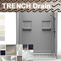 Shower Trench Drain 5LBS26036DF1FTB Subway Tile Bestbath 60 x 36
