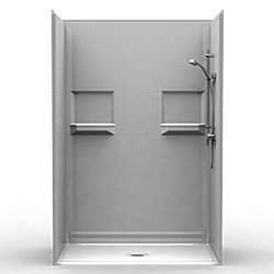 "54"" x 30"" Barrier-Free Accessible Shower Unit .75"" Beveled Entry & Shelves LARGE"