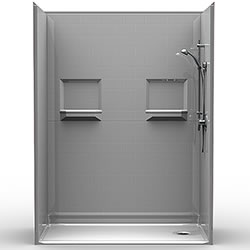 "60"" x 30"" Barrier-Free Accessible Shower Unit .75"" Beveled Entry & Shelves LARGE"