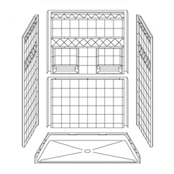 "54"" x 36"" Barrier-Free Accessible Shower Unit .75"" Beveled Entry & Shelves LARGE"