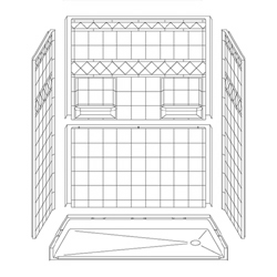 "60"" x 30"" Barrier-Free Accessible Shower Unit .75"" Beveled Entry & Shelves, End Drain LARGE"