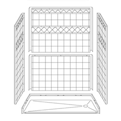 "60"" x 30"" Barrier-Free Accessible Shower Unit .75"" Beveled Entry, End Drain LARGE"