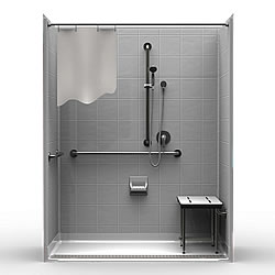 "63"" x 33"" ADA Roll In Shower 1"" Beveled Entry, Front Trench Drain LARGE"