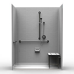 "63"" x 33"" ADA Roll In Shower .75"" Beveled Entry, Front Trench Drain LARGE"