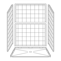 "60"" x 36"" Barrier-Free Accessible Shower Unit .75"" Beveled Entry LARGE"