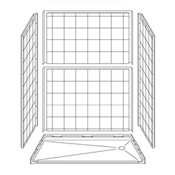 "60"" x 36"" Barrier-Free Accessible Shower Unit 1"" Beveled Entry, End Drain LARGE"