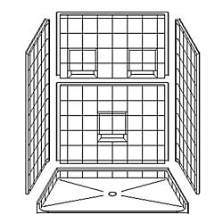 "60"" x 42"" Barrier-Free Accessible Shower Unit 1"" Beveled Entry & Shelves LARGE"