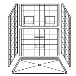 "60"" x 48"" Barrier-Free Accessible Shower Unit 1"" Beveled Entry & Shelves LARGE"