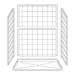 "63"" x 31"" ADA Roll-In Shower Unit .75"" Beveled Entry LARGE"