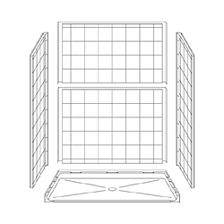 "63"" x 31"" ADA Roll-In Shower Unit .75"" Threshold LARGE"