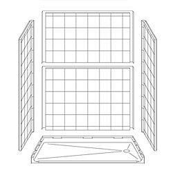 "63"" x 31"" ADA Roll-In Shower Unit 1"" Beveled Entry LARGE"