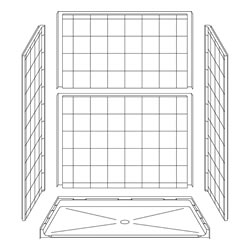 "63"" x 37"" ADA Roll-In Shower Unit .75"" Beveled Entry LARGE"