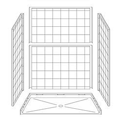 "63"" x 37"" ADA Roll-In Shower Unit .75"" Threshold LARGE"