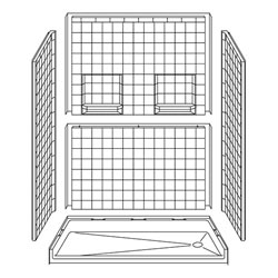 "60"" x 30"" Barrier-Free Accessible Shower Unit 1.75"" Threshold & Shelves LARGE"