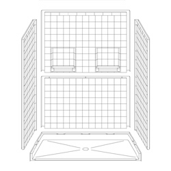 "60"" x 32"" Barrier-Free Accessible Shower Unit .75"" Beveled Entry & Shelves LARGE"