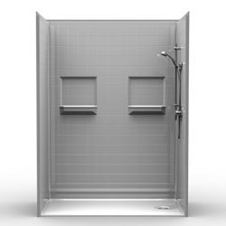 "60"" x 32"" Barrier-Free Accessible Shower Unit 1.5"" Beveled Entry & Shelves LARGE"