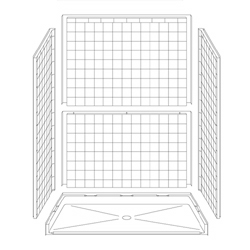 "60"" x 32"" Barrier-Free Accessible Shower Unit .75"" Beveled Entry LARGE"