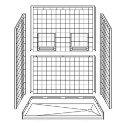 "60"" x 33"" Barrier Free Shower for Disability Remodeling 5LRS6033B17T"