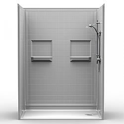 "60"" x 34"" Barrier-Free Accessible Shower Unit .75"" Beveled Entry & Shelves LARGE"