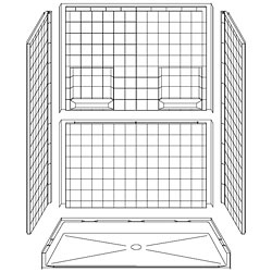 "60"" x 30"" Barrier-Free Accessible Shower Unit .75"" Beveled Entry & Shelves, Center Drain LARGE"