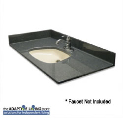 "ADA Bowl Vanity Sink Top, 5/8"" Deck, Standard Granite Colors LARGE"