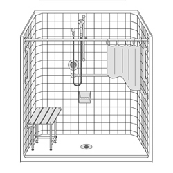 "60"" x 33"" One Piece Barrier-Free Accessible Shower Unit .75"" Beveled Entry LARGE"