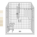 60 x 33 CS6033B75B Barrier Free Classic Tile composite fiberglass shower