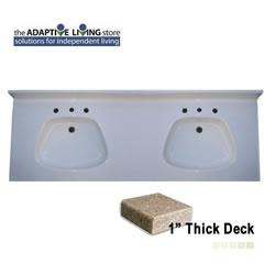 "ADA Double Bowl Vanity Sink Top, 1"" Deck, Premium & Matte Colors_MAIN"