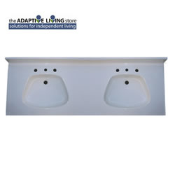 "ADA Double Bowl Vanity Sink Top, 5/8"" Deck, Premium & Matte Colors LARGE"