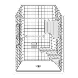 "50"" x 38"" One Piece Barrier-Free Accessible Shower Unit .5"" Threshold LARGE"