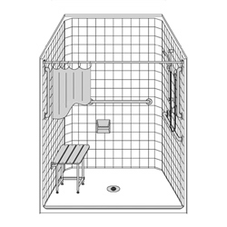 "51"" x 51"" One Piece Barrier-Free Accessible Shower Unit .5"" Beveled Entry LARGE"