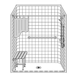 "60"" x 30"" One Piece Barrier-Free Accessible Shower Unit .75"" Beveled Entry LARGE"
