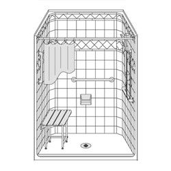 "48"" x 36"" One Piece Barrier-Free Accessible Shower Unit .5"" Threshold Diamond Tile Wall Finish LARGE"