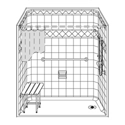 "60"" x 32"" One Piece Barrier-Free Accessible Shower 1"" Beveled Entry & End Drain LARGE"
