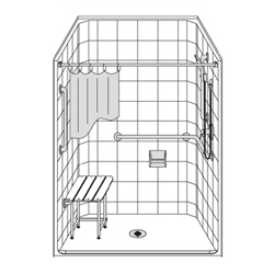 "48"" x 38"" Barrier Free LES4838B5B fiberglass shower"