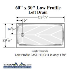 "60"" X 30"" Wheelchair Accessible Shower with LOW Profile Base LARGE"