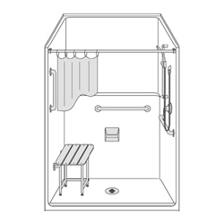 "48"" x 36"" One Piece Barrier-Free Accessible Shower Unit .5"" Beveled Entry LARGE"
