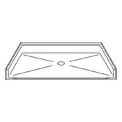 "Best Bath Systems P4834B5B 48"" x 34"" Barrier Free Beveled Shower Pan with Center Drain"