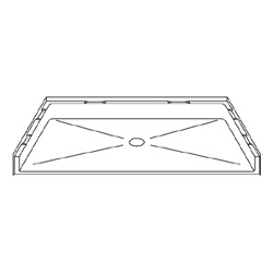 "Best Bath Systems P4834B5T 48"" x 34"" Barrier Free Beveled Shower Pan with Center Drain"