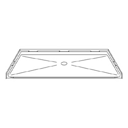 "60"" x 36"" Barrier-Free Accessible Shower Pan .75"" Beveled Entry& Center Drain LARGE"