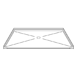 "60"" x 48"" Barrier-Free Accessible Shower Pan 1"" Beveled Entry & Center Drain LARGE"