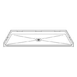 "63"" x 31"" ADA Roll-In Shower Pan .75"" Threshold LARGE"