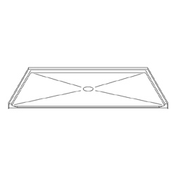 "72"" x 48"" Barrier-Free Accessible Shower Pan 2"" Beveled Entry & Center Drain LARGE"
