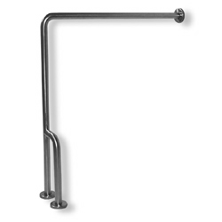 Satin Stainless Steel 90° Wall-to-Floor Grab Bar with Support LARGE