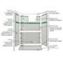 "60"" x 36"" Barrier Free Shower 1"" Beveled Entry, Shelves, Subway Tile, Front Trench Drain SWATCH"