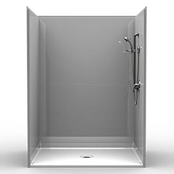 "60"" x 48"" Barrier-Free Accessible Shower Unit 1"" Beveled Entry, Subway Tile LARGE"