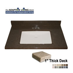 "ADA Rectangular Bowl Vanity Sink Top, 1"" Deck, Standard Granite Colors LARGE"