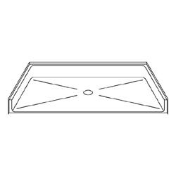 "Best Bath Systems 54"" x 36"" Barrier Free Beveled Shower Pan with Center Drain"