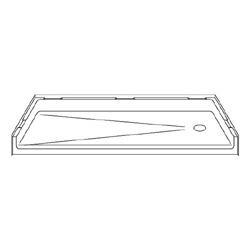 "60"" x 30"" Barrier-Free Accessible Shower Pan 1.75"" Beveled Entry & End Drain LARGE"