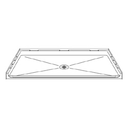 "63"" x 37"" ADA Roll-In Shower Pan .75"" Threshold LARGE"
